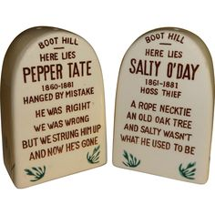 Headstones Salty O'Day and Pepper Tate Salt and Pepper Shakers - Made in Japan