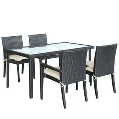 """LexMod Viva Outdoor Wicker Patio Dining Set in Espresso by LexMod. $849.00. Ships pre-assembled. All weather synthetic rattan weave. Easy to clean tempered glass top. Powder coated aluminum frame. Water and UV resistant. Introduce renewed momentum with this charged set. Viva celebrates life and happiness with this four espresso chairs and dining table set. Turn delicate beginnings into joy as you dine to all things good and ambitious. Chair Dimensions: 23.5""""L x 24.5""""W..."""
