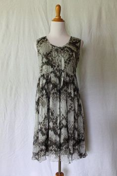 Et Compagnie Gray silk lace up front sleeveless ballerina dress France Sz 40 M #EtCompagnie #Sheath #Casual
