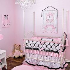 Pink Black White Princess Crib Bedding for Your Baby Girl's Nursery | Baby Lifestyles