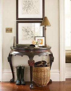 Asian demilune, Framed Botanicals, & Basket of Flip Flops