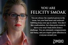 I took Zimbio's 'Arrow' quiz and I'm Felicity Smoak! Who are you? #ZimbioQuiznull - Quiz