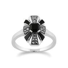 925 Sterling Silver Art Deco Black Onyx