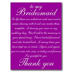 Bridesmaid Thank you Post Cards