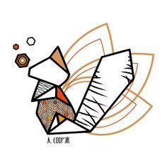 Squirrel origami geometric Art Print