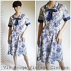Vintage 60s/70s Blue & White Day Dress with Pussy Bow Belted - Size 12UK