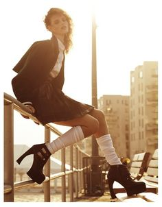 Playing Hooky – proenza schouler platform chunky heels with buckle details, pleated skirt, white collar shirt, varsity inspired jacket