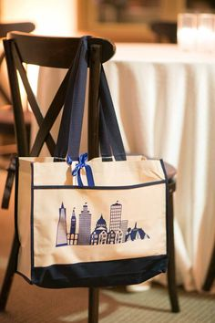 San Francisco Skyline Wedding Gift Bag. Love this timeless & classic city wedding at San Francisco Ferry Building wedding venue w navy blue & gold details, white floral design & bouquets, custom welcome gifts, planned & designed by Amy Nichols Special Events, a luxury wedding planner in San Francisco, serving California, wine country, Napa, Sonoma, Hawaii, Bali, Mexico & destinations worldwide. Welcome Bags, Welcome Gifts, California Wedding, California Wine, Northern California, Autumn Wedding, Green Wedding, Wedding Gift Bags, Timeless Wedding
