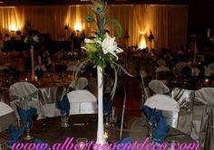 Peacock feather eiffel tower vase :  wedding blue bouquet ceremony flowers green Peacock Centerpiece