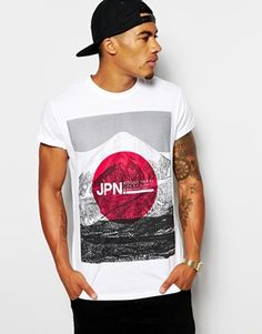 ASOS+T-Shirt+With+Japan+Flag+Print+And+Rolled+Sleeve+Skater+Fit $26.66