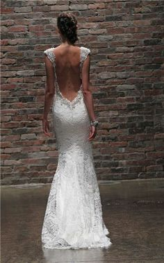 lace wedding dress,love this low back lace wedding dresses