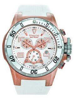 Mulco MW1-29828-016 Stainless Steel Chronograph Deep Collection White Dial Watch MULCO. $375.00. Fashion, swiss, PU band, oversized, white, sports