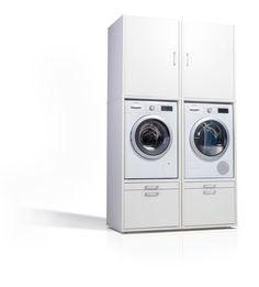 washing machine cupboard with top cabinet (without washing machine) Laundry Closet, Laundry In Bathroom, Laundry Rooms, Wall Taps, Laundry Room Cabinets, Laundry Room Design, Wall Brackets, Stacked Washer Dryer, Modern Bathroom