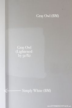 "Lettered Cottage | Difference between regular Benjamin Moore's ""Gray Owl"" & ""Gray Owl"" lightened by 50%"