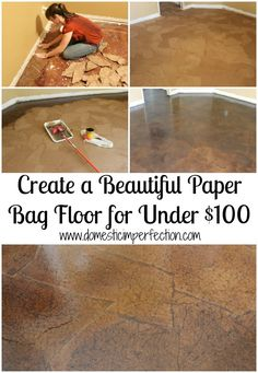 Recycling a paper into a Bag Floor?  A Tutorial  I've seen this done to a messed up, old countertop, also.  Ripped in hand-size pieces...really sharp looking!
