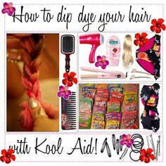 How to dip dye your hair with Kool aid:/ - Polyvore
