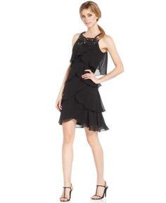 SL Fashions Sleeveless Beaded Tiered Dress