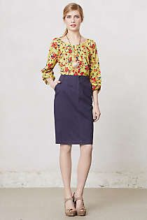 Anthropologie - Cambria Twill Pencil Skirt