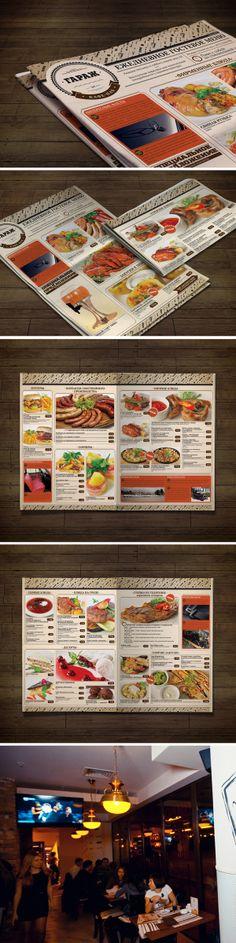 "Дизан меню для кафе-паба ""Гараж"" by Nadezhda Larionova, via Behance"