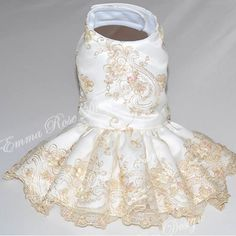 Fancy Dog Dresses | ... dog dress heirloom couture white and gold dog dress simply stunning is