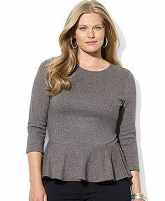 Lauren Ralph Lauren Plus Size Three-Quarter-Sleeve Peplum Top