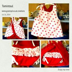 Granny D has begun sewing little girls clothes....this delightful cross over dress & diaper cover is reversable ...can be made to order