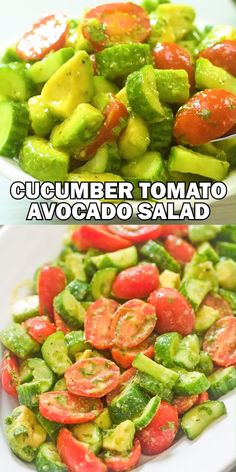This Cucumber Tomato Avocado Salad is an easy, scrumptious summer salad. Its crunchy, fresh, and made with everyday ingredients. Its a family favorite. Cooktoria for more deliciousness! Avocado Tomato Salad, Avocado Salad Recipes, Best Salad Recipes, Feta Salad, Recipes With Cucumbers, Brocoli Salad Recipe, 7 Up Salad, Recipes With Avocado, Avacodo Salad