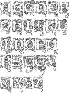 ru / Фото - Art-Nouveau_Designs by Judy Balchin - KaramelkaN Hand Lettering Alphabet, Alphabet Art, Calligraphy Letters, Typography Letters, Letter Art, Caligraphy, Creative Lettering, Lettering Design, Illuminated Letters