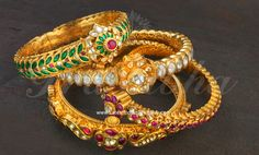 Traditional design gold bangles or kada designs from Prathibha jewellers. antique gold kankanam style designer bangles with polki stones, burmese rubies Latest Gold Jewellery, Bead Jewellery, Temple Jewellery, Fancy Jewellery, Handmade Jewellery, Gold Bangles Design, Jewelry Design, Designer Bangles, Bridal Party Jewelry