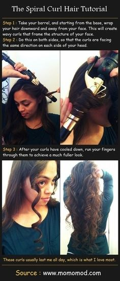 The Spiral Curl Hair Tutorial. I'd definitely try this myself if I knew I could finish without getting annoyed.