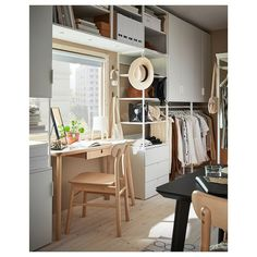 A bright and airy multi-purpose room Drawer Rails, Drawer Fronts, Ikea Lisabo, Catalogue Ikea, Open Shelving Units, Frame Shelf, Plastic Drawers, Multipurpose Room, Basket Shelves