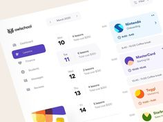 Owlschool: lessons designed by Vladimir Gruev for Heartbeat Agency. Connect with them on Dribbble; Dashboard Software, Dashboard App, Dashboard Interface, Dashboard Design, Interface Design, App Ui, Web Design Agency, Ui Design, Layout Design