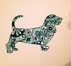 Paisley Basset Hound Silhouette- green