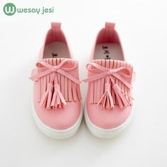 Niños zapatos 2016 primavera niñas zapatos zapatos de la princesa de la borla de Pisos de cuero zapatos de los niños niñas zapatillas de deporte lindas para las muchachas del niño entrenadores
