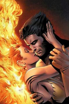 #marvel jean grey (phoenix) and wolverine......true love