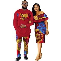 African Dashiki Print Couple Clothing for Lovers Two Piece Set Men's Suit Plus Women's Ruffle Sleeve Bodycon Dress African Attire, African Wear, African Dress, African Style, African Design, African Beauty, African Print Fashion, African Fashion Dresses, Fashion Outfits