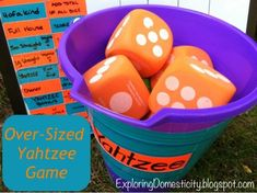 Over-sized Yahtzee Game ⋆ Exploring Domesticity Math Games, Fun Games, Games To Play, Summer Activities For Kids, Games For Kids, Teen Activities, Yahtzee Game, Yard Yahtzee