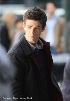 Grant Gustin on the set of The Flash - Pilot
