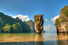 View of Ko Tapu island known as James Bond Island near Phuket Thailand