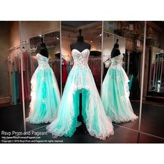 Mint Sweetheart High Low Homecoming Dress - Rsvp Prom and Pageant ❤ liked on Polyvore featuring dresses, floral dresses, mint green dress, mint green homecoming dresses, hi low prom dresses and prom dresses