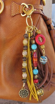 Purse Charm Charm Tassel Zipper Pull Key Chain by #BethAnnsJewelry