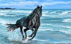 Painting Of Horse Enjoying Gallop Along Beach