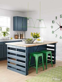 Give your kitchen a bold new look for $360 with this DIY island constructed from wood pallets./