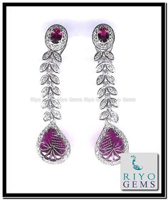 Ruby Earrings, White Gold, Gems, Jewelry, Ruby Stud Earrings, Jewlery, Bijoux, Rhinestones, Jewerly
