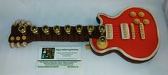Red And Pearl Gibson Guitar Menorah Made from polymer by Michelle Mathis Burckhalter www.claycreationsbymichelle.com