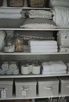 Some Progress in Our Upstairs Hallway and Linen Closet (Dear Lillie) Bathroom Closet Organization, Bathroom Organisation, Closet Storage, Hallway Closet, Upstairs Hallway, Organizar Closet, Linen Cupboard, Dear Lillie, Home Decor