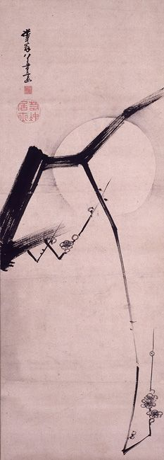 Moon and Plum Blossom. Jakuchu Ito. 1800.