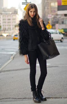 Combat boots and fur