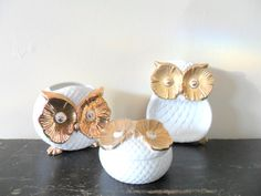 white and gold 70s glam porcelain enesco owl vanity by compostthis, $40.00