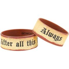 WB Harry Potter Always After All This Time Rubber Bracelet Set ($6.80) ❤ liked on Polyvore featuring jewelry, bracelets, multi, rubber bangles, warner bros., rubber jewelry and brown jewelry